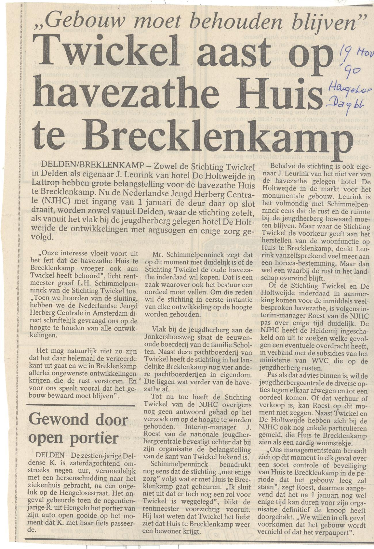 Twickel aast op havezathe Huis te Brecklenkamp