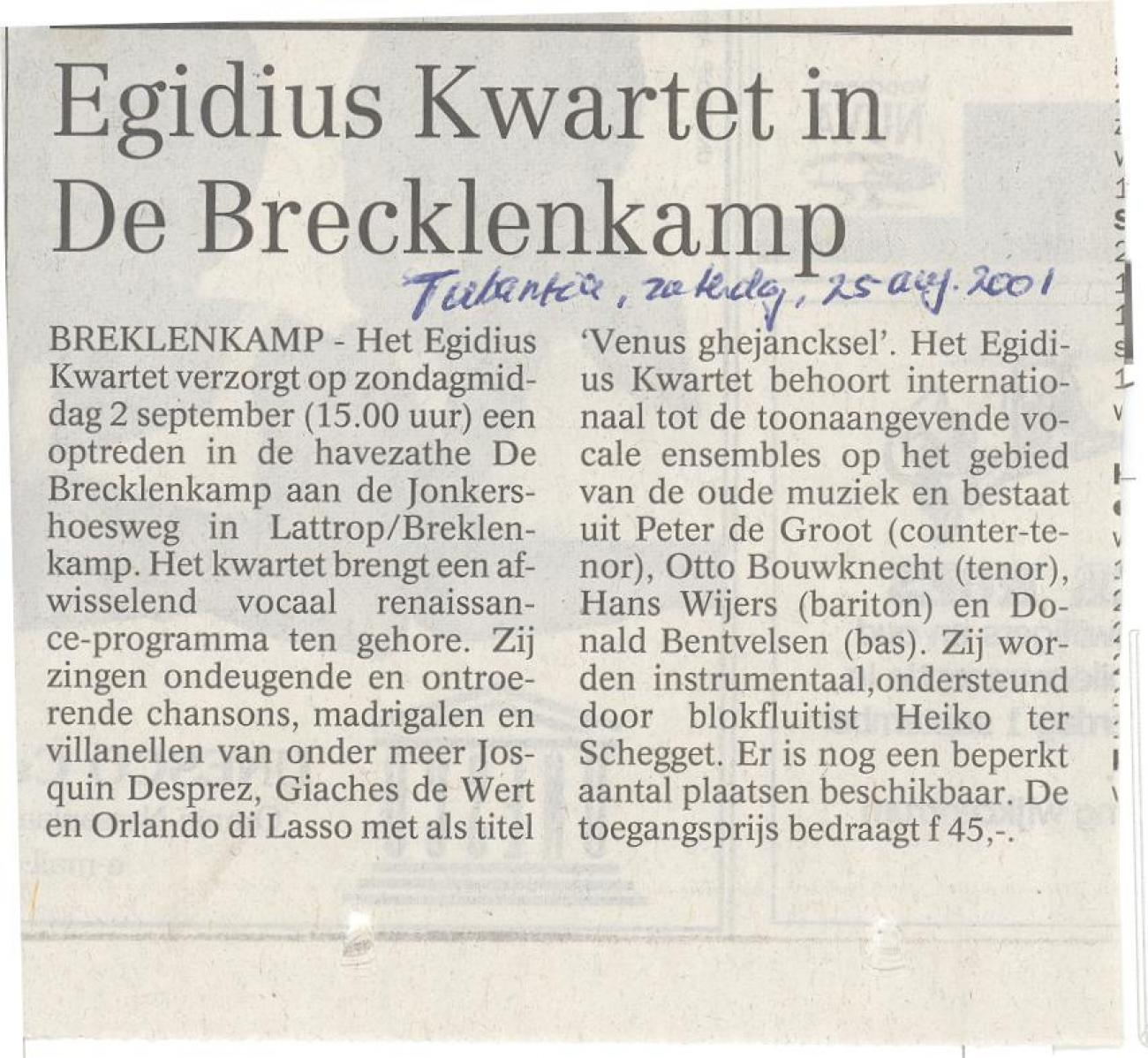 Egidius Kwartet in De Brecklenkamp