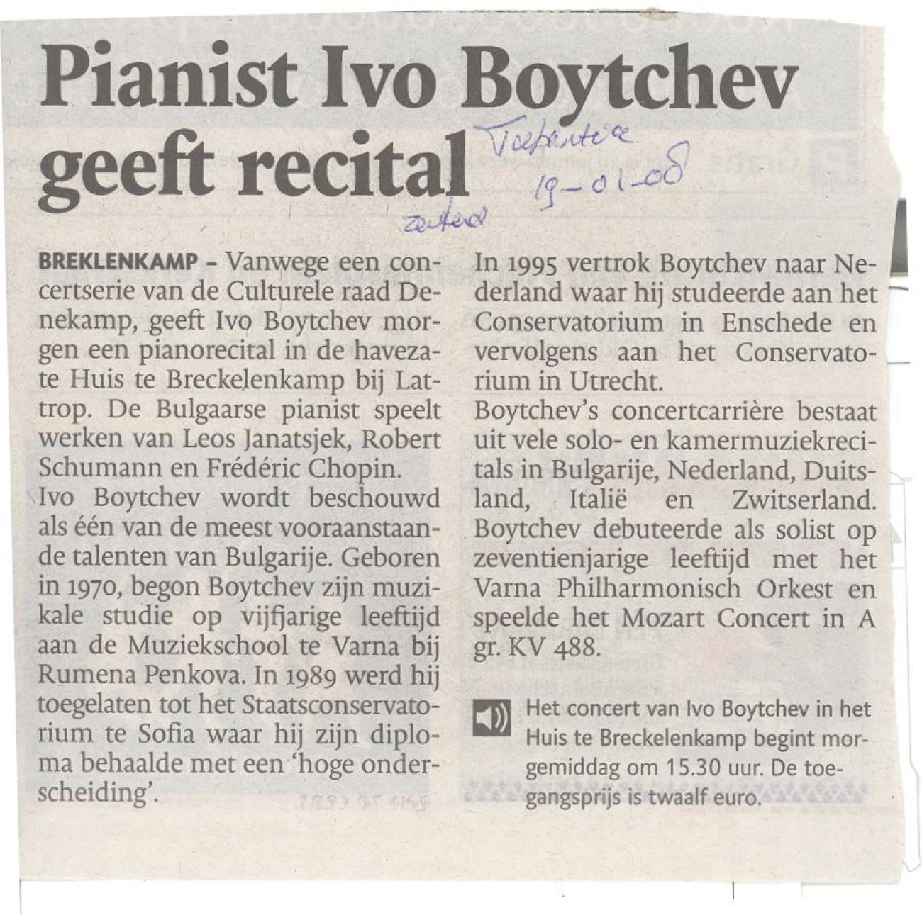 Pianist Ivo Boytchev geeft recital