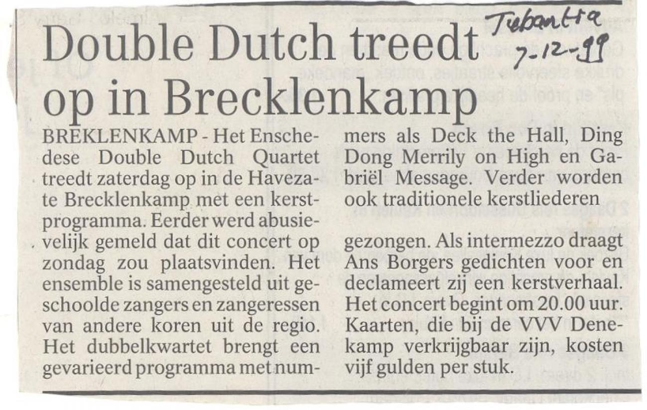 Double Dutch treedt op in Brecklenkamp