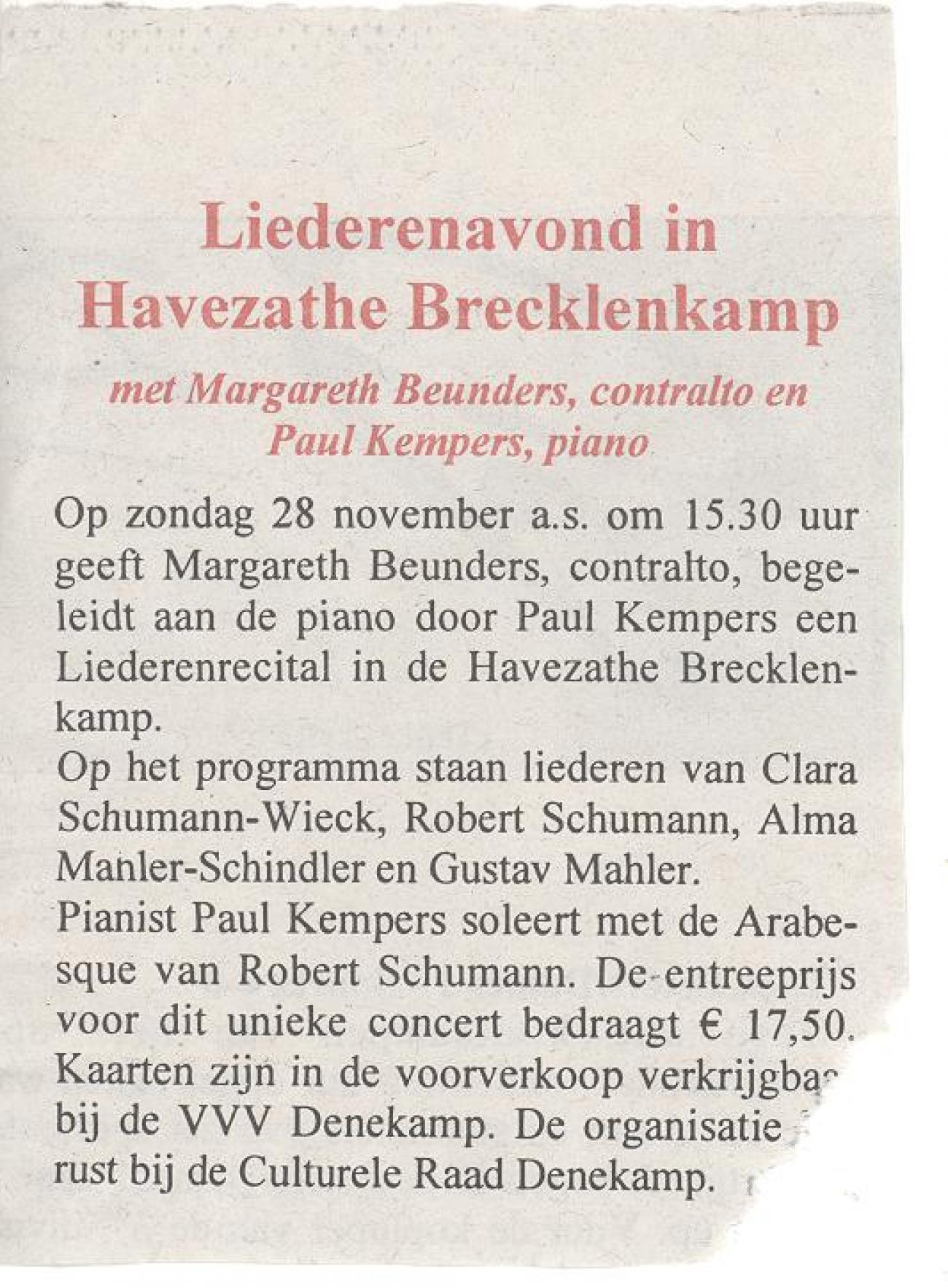 Liederenavond in Havezathe Brecklenkamp